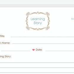 Learning Story Template Observation Guidebook Eylf Programming Doentations