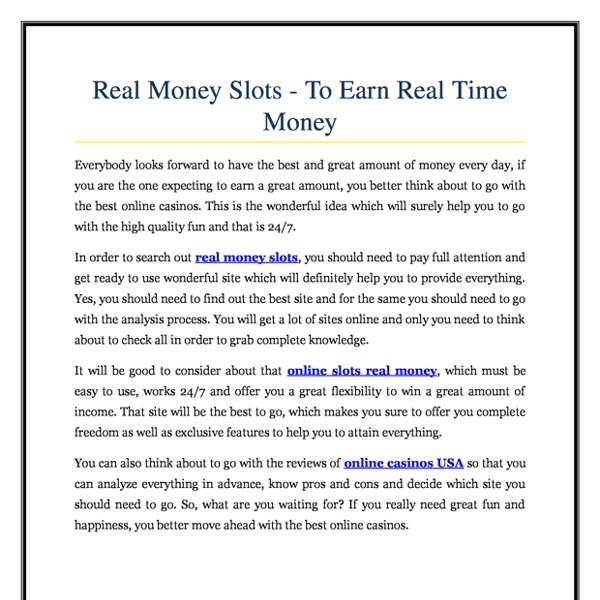 Real Money Slots To Earn Real Time Money