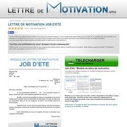 Lettre De Motivation Job D Ete Pearltrees