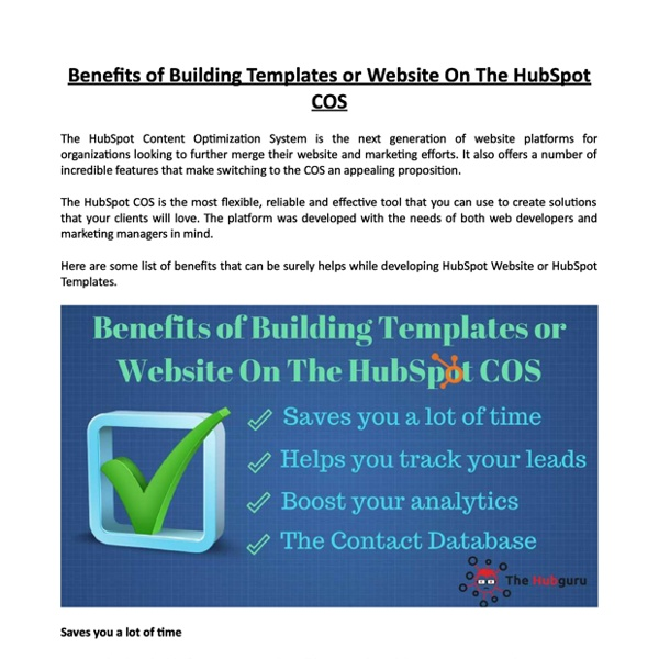 Benefits of Building Templates or Website On The HubSpot COS