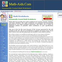 Dynamically Created Math Worksheets | Pearltrees
