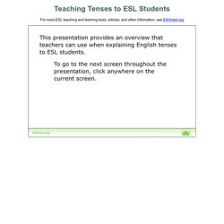 Teaching Tenses to ESL Students | Pearltrees