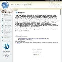 IB Extended Essay Help Anyone? ?