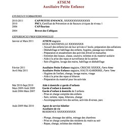 Modele Cv Pour Petite Enfance Lafermesalicole
