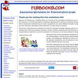 Free Printable Worksheets for Preschool-Sixth Grade in Math, English ...
