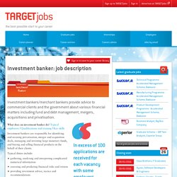 Investment Banker: Job Description