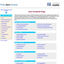 Java For Beginners - Contents Page | Pearltrees