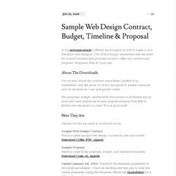Sample Web Design Contract Budget Timeline Proposal