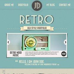 retro portfolio one page vintage wordpress theme preview