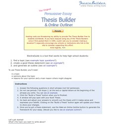 Thesis Creator Pearltrees Tom March Thesis Builder The Original Persuasive  Essayu2026
