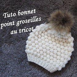 2249bb745007 TUTO BONNET POINT GROSEILLE TRICOT hat beanie knitting GORRO TEJIDO DOS  AGUJAS
