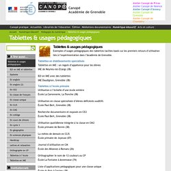 Tablettes Usages Pedagogiques Canope Academie De Grenoble