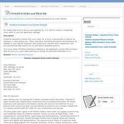 fashion assistant cover letter sample - Assistant Fashion Designer Cover Letter