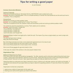 Writing tips for fantasy novel?