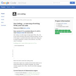 Zen-coding - Project Hosting on Google Code | Pearltrees