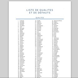 liste de défaut