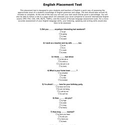 Placement Tests | Pearltrees