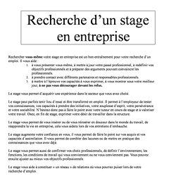 Trouver Son Stage Exemple Lettre Rapport De Stage En Entreprise