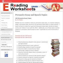 101 persuasive essay and speech topics pearltrees