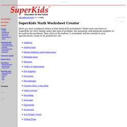 math worksheet creator  pearltrees