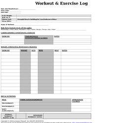 printable exercise log