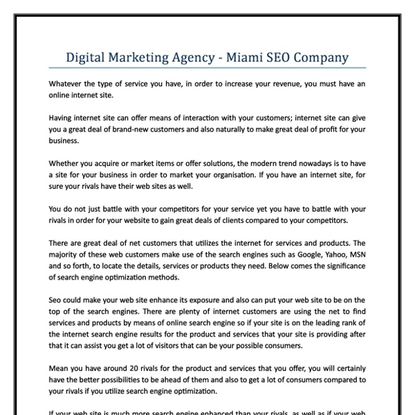 Digital Marketing Agency Miami SEO Company