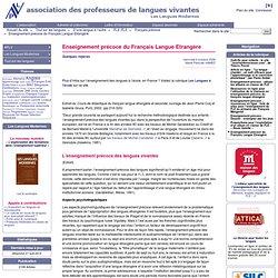 109750fa512 Enseignement prcoce du Franais Langue Etrangre - APLV-Langues Modernes