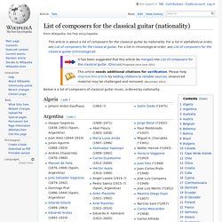 List of composers for the classical guitar