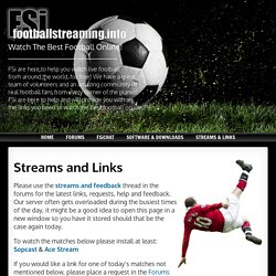 FREE Football Streaming info : Watch live football on your pc, free