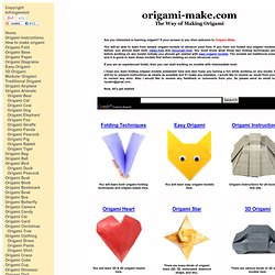 Origami Make Instructions To Learn How