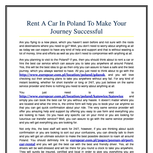Rent A Car In Poland To Make Your Journey Successful