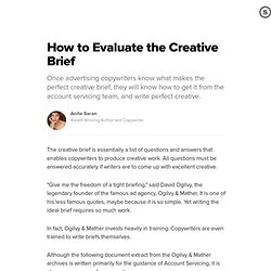 How To Evaluate The Creative Brief