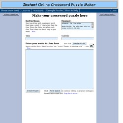 Instant Crossword Puzzle Maker | Pearltrees